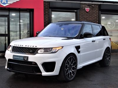 Land Rover Range Rover Sport 5.0 V8 S/C SVR 5dr Auto MASSIVE SPECIFICATION OVER 10K WORTH FUJI WHITE Estate Petrol WhiteLand Rover Range Rover Sport 5.0 V8 S/C SVR 5dr Auto MASSIVE SPECIFICATION OVER 10K WORTH FUJI WHITE Estate Petrol White at Autoprestige Bradford