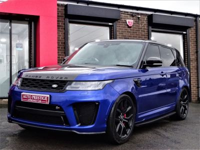 Land Rover Range Rover Sport 5.0 V8 S/C 575 SVR 5dr Auto HUGH SPECIFICATION Estate Petrol BlueLand Rover Range Rover Sport 5.0 V8 S/C 575 SVR 5dr Auto HUGH SPECIFICATION Estate Petrol Blue at Autoprestige Bradford